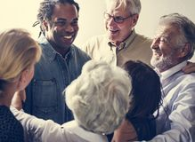Group of diverse people gathering together support teamwork royalty free stock photography
