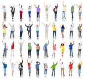 Group of Diverse People Hands Raised Celebrating Stock Image