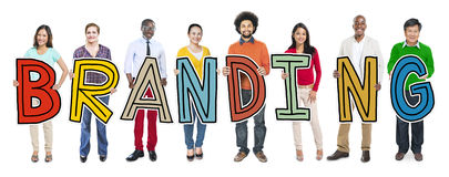 Group of Diverse People Holding Branding Royalty Free Stock Photo