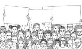 Group of diverse people holding empty signs. Drawing of a diverse group of hand drawn men and women holding empty signs, protesting, black and white ink vector illustration