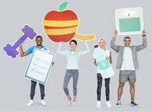 Group of diverse people holding health and fitness icons
