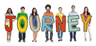 Group of Diverse People Holding Journey Stock Images
