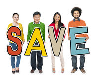 Group of Diverse People Holding Save Stock Photos