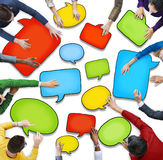 Group of Diverse People Holding Speech Bubbles.  Stock Photography