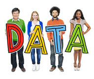 Group of Diverse People Holding Word Data Royalty Free Stock Photo