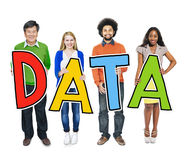 Group of Diverse People Holding Word Data Stock Image