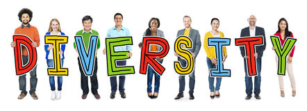 Group of Diverse People Holding Word Diversity Stock Photography