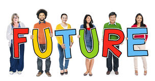 Group of Diverse People Holding Word Future Royalty Free Stock Photography