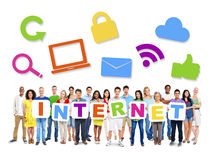 Group of Diverse People Holding Word Internet Stock Photos