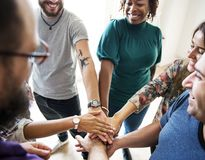 Group of diverse people joined hands together teamwork Royalty Free Stock Images