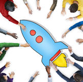 Group of Diverse People with Rocket Symbol Royalty Free Stock Photography