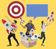 Group of diverse people with rockets and target Royalty Free Stock Images