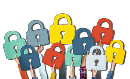 Group of Diverse People's Hands Holding Padlocks.  Stock Photography