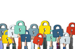 Group of Diverse People's Hands Holding Padlocks.  Royalty Free Stock Photos