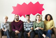 Group of diverse people with speech bubble icon Royalty Free Stock Photo