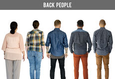 Group of Diverse People Turn Back Side Set Studio Isolated Stock Photography