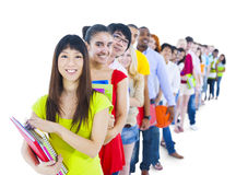 Group of Diverse Student Standing in Line.  Royalty Free Stock Photo