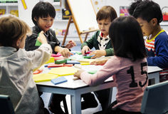 Group of diverse students at daycare royalty free stock photography