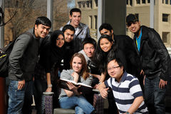 Group of Diverse Students. Inside college campus Royalty Free Stock Photos