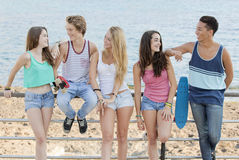 Group of diverse teens at beach. Group of diverse teens skate board  at beach Stock Image