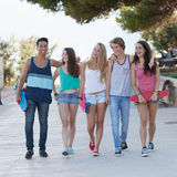 Group of diverse teens on holiday Royalty Free Stock Image