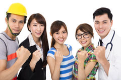 Group of diverse young people in different occupations. Group of diverse young asian people in different occupations with success gesture Stock Image