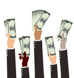 Group of Diversity Busibess Hand Holding Money Stock Photography