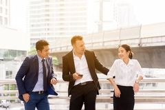 Group of diversity business people team talking and consult while standing together in the city royalty free stock photos