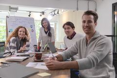 Group of diversity businessmen working together brainstorming in royalty free stock photos