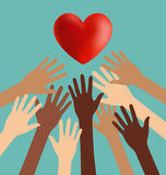 Group of Diversity Hand Reaching For The Red Heart Stock Photography