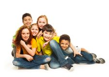 Group of diversity looking kids Royalty Free Stock Image