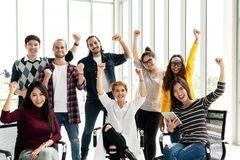 Group of Diversity People Team smiling and cheerful in success work at modern office. Creative Multiethnic teamwork feeling happy, stock photos