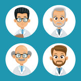Group doctor professional icons round Royalty Free Stock Image