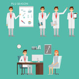 Group of doctors characters and hospital staff. Medical team concept in flat design. Healfthcare concept. Medic male. Doctor with patient in the office of Stock Photo
