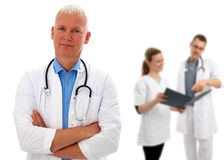 Group of doctors with European doctor Royalty Free Stock Photography