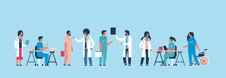Group doctors hospital communication making scientific experiments diverse medical workers blue background flat banner stock illustration