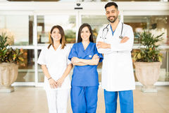 Group of doctors in a hospital entrance Royalty Free Stock Photography