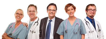 Group of Doctors or Nurses and Businessman on White Royalty Free Stock Photos
