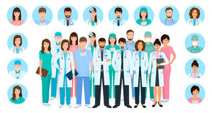 Group of doctors and nurses characters in different poses with vector profile avatars. Medical people. Hospital staff. Group of doctors and nurses characters in stock illustration