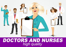 Group of doctors and nurses set Stock Image