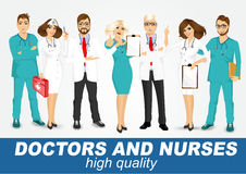 Group of doctors and nurses set Stock Photo