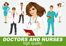 Group of doctors and nurses set Royalty Free Stock Photos