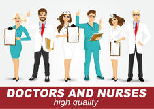 Group of doctors and nurses set Royalty Free Stock Photo
