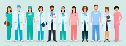 Group of doctors and nurses standing together. Medical people. Hospital staff. Flat style vector illustration Royalty Free Stock Photo