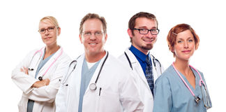 Group of Doctors or Nurses on a White Background Stock Photos