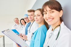 Group of doctors in physician apprenticeship. As a team in training royalty free stock images