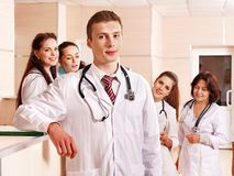 Group doctors at reception in hospital. Stock Image