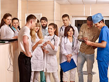 Group doctors at reception in hospital. Royalty Free Stock Photo