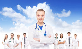 A group of doctors on sky background Stock Photo