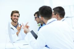 Group of doctors at a working meeting. In medical office Royalty Free Stock Images